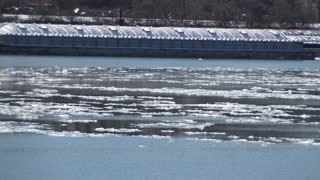 A time lapse view of ice moving down the Ohio River near Pittsburgh, PA.