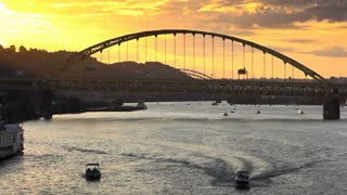A timelapse sunset over the Monongahela River and Fort Pitt Bridge in Pittsburgh, PA.