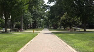 A typical college or university campus establishing shot background plate.