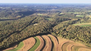 Aerial view of typical farmlands of Pennsylvania.