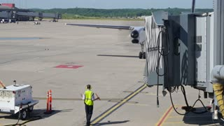 Airplane Arrives at Gate