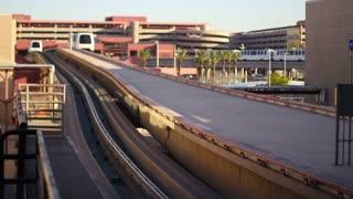 Airport Tram Approaches Terminal Travel Transportation Passengers