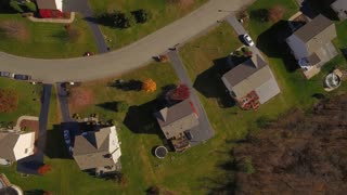 An aerial view looking straight down on a typical western Pennsylvania residential neighborhood in late Autumn.