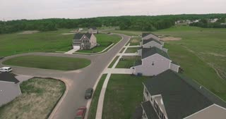 An aerial view of a new Ohio residential housing development.
