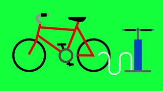 An animation of inflating a bicycle tire. Loopable. Green screen with optional luma matte.