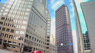 An establishing shot of tall buildings at the corner of 5th and Ross Streets in downtown Pittsburgh, Pennsylvania.