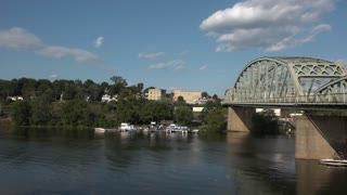 An establishing shot of the Beaver River near Bridgewater and Rochester, Pennsylvania.