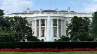 An establishing shot of the White House in Washington, D.C.