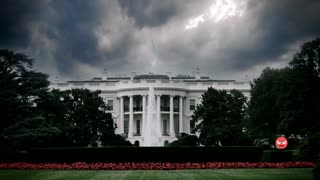 Angry emojis fly across the White House with dark, ominous clouds in the sky above.