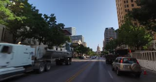 AUSTIN, TX - A driver's perspective on Congress Avenue in downtown Austin, Texas.