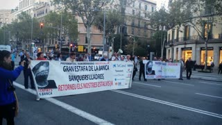 BARCELONA, CATALONIA, SPAIN - Circa October, 2014 - Protestors walk down Rambla de Catalunya.