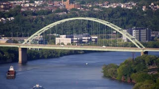 Pittsburgh's Birmingham Bridge Establishing Shot