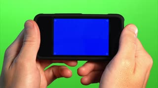 Blank Portable Media Player Holding Closeup Blue Screen