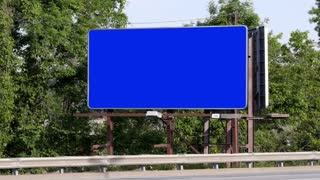Blank Roadside Billboard Blue Screen