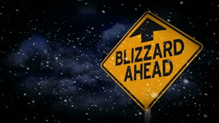 Blizzard Ahead Weather Road Sign Animation Background