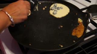 Making Blueberry Pancakes Detail