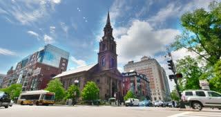 BOSTON, MA - Circa June, 2016 - A daytime establishing shot of the Arlington Street Church near Boston Commons.