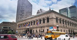 BOSTON, MA - Circa June, 2016 - A daytime establishing shot of the Boston Public Library.