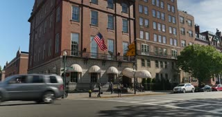 BOSTON, MA - Circa June, 2016 - A daytime establishing shot of the Bull and Finch Pub on Beacon Street in Boston, the inspiration for the 1980s American television sitcom, Cheers.