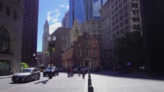 BOSTON, MA - Circa June, 2016 - A daytime establishing shot of the Old State House in downtown Boston.