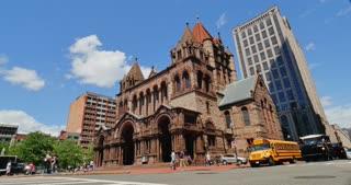 BOSTON, MA - Circa June, 2016 - A daytime establishing shot of the Trinity Episcopal Church near Copley Square in Boston.