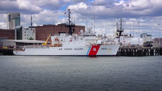 BOSTON, MA - Circa June, 2016 - A US Coast Guard ship is docked at a port on Boston's Inner Harbor.