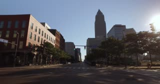 CLEVELAND - Circa September, 2016 - A driving perspective on West Saint Clair Avenue in downtown Cleveland, Ohio.