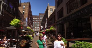 CLEVELAND - Circa September, 2016 - A walking perspective on the popular tourism area of East 4th Street in downtown Cleveland, Ohio.