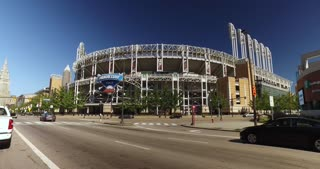 CLEVELAND - Circa September, 2016 - Driving past Progressive Field in Cleveland, Ohio, home to the Cleveland Indians.