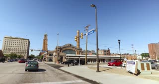 CLEVELAND - Circa September, 2016 - Driving past the historical West Side Market in downtown Cleveland, Ohio.