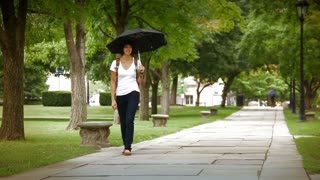 College Students Under and Umbrella on Campus