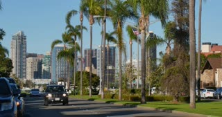 CORONADO - Circa February, 2017 - A daytime establishing shot of the city of San Diego as seen from the streets on the upscale island of Coronado.
