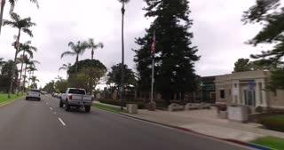 CORONADO ISLAND, CA - Circa February, 2017 - A driver's forward perspective on the streets in an upscale Coronado Island neighborhood.