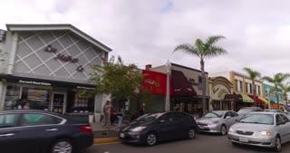CORONADO ISLAND, CA - Circa February, 2017 - A side and rear view perspective driving on the streets in an upscale Coronado Island neighborhood.