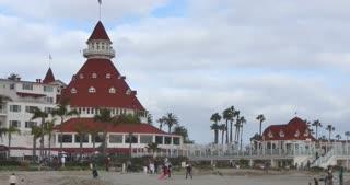 CORONADO ISLAND, CA - Circa February, 2017 - A windy, winter overcast establishing shot of the famous Hotel del Coronado in San Diego.