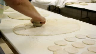 Cutting Dough in Industrial Kitchen