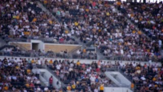 Defocused Stadium Crowd Cheers Stadium Busy Sporting Event