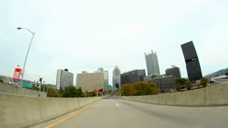 Downtown Pittsburgh Driving POV Fisheye Wide Angle
