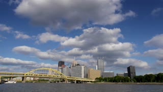 Dramatic time lapse of the Pittsburgh skyline.  Corporate logos have been digitally removed for general stock use.