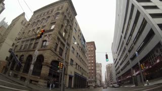 Driver's perspective of driving in downtown Pittsburgh, PA in the winter.