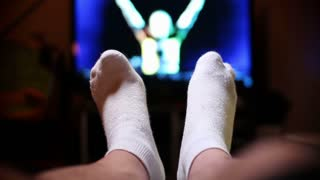 Feet Up Watching TV Relaxing
