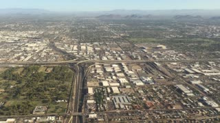 Flying over Phoenix on an approach to Sky  Harbor Airport.