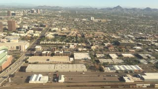 Flying over Phoenix on an approach to Sky  Harbor International Airport.