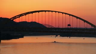 Fort Pitt Bridge Establishing Shot at Sunset