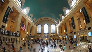 Grand Central Station Time Lapse Fisheye