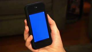 Holding Smartphone Blue Screen Detail
