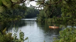 Kayakers in Nature on Lake or Pond