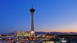 LAS VEGAS - Circa April, 2015 - A dramatic sunrise timelapse over the Las Vegas strip and the Stratosphere Hotel and Casino.