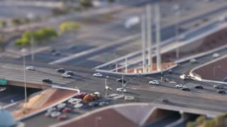 LAS VEGAS, Circa April, 2015 - A high-angle tilt shift time lapse view of busy Interstate 15 near Las Vegas.