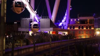 LAS VEGAS, NEVADA, Circa, April, 2014 -  A view of The High Roller Ferris Wheel at  night as the monorail passes by.
